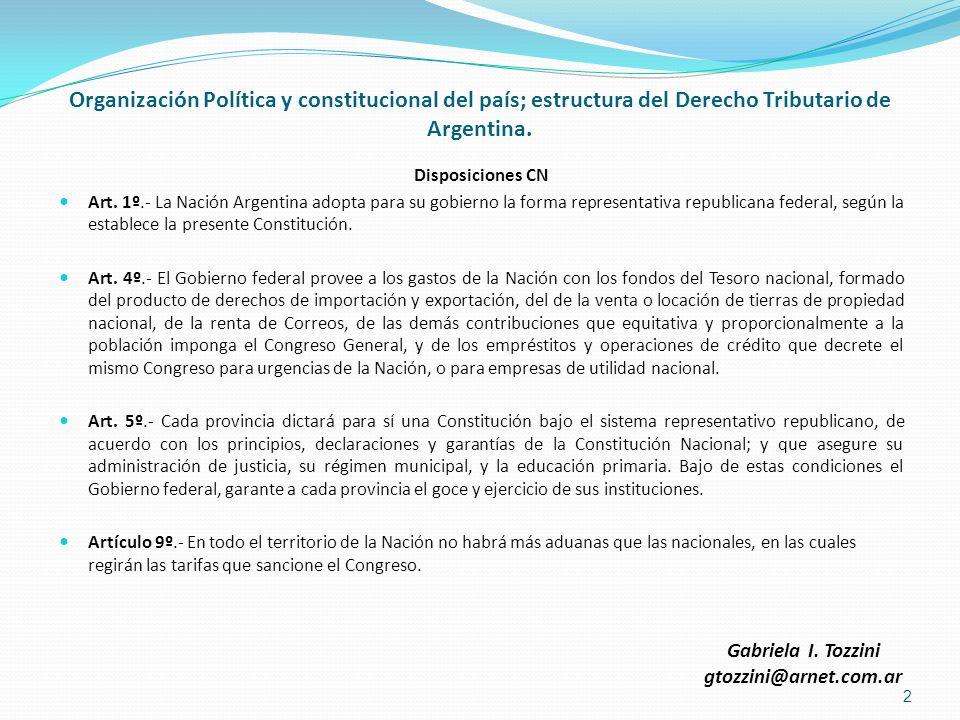Organización Política y constitucional del país; estructura del Derecho Tributario de Argentina. Disposiciones CN Art. 1º.- La Nación Argentina adopta