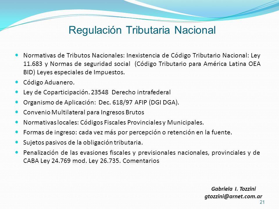 Regulación Tributaria Nacional Normativas de Tributos Nacionales: Inexistencia de Código Tributario Nacional: Ley 11.683 y Normas de seguridad social