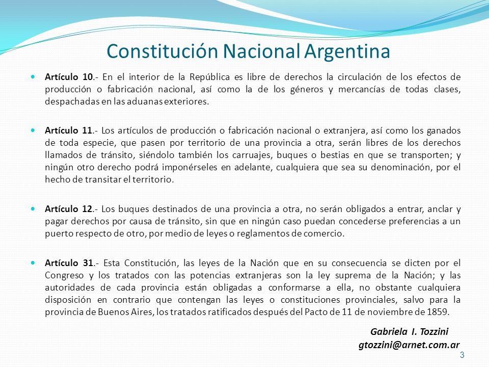 Constitución Nacional Argentina Artículo 10.- En el interior de la República es libre de derechos la circulación de los efectos de producción o fabric