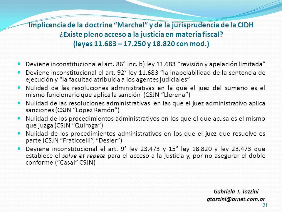 Implicancia de la doctrina Marchal y de la jurisprudencia de la CIDH ¿Existe pleno acceso a la justicia en materia fiscal? (leyes 11.683 – 17.250 y 18