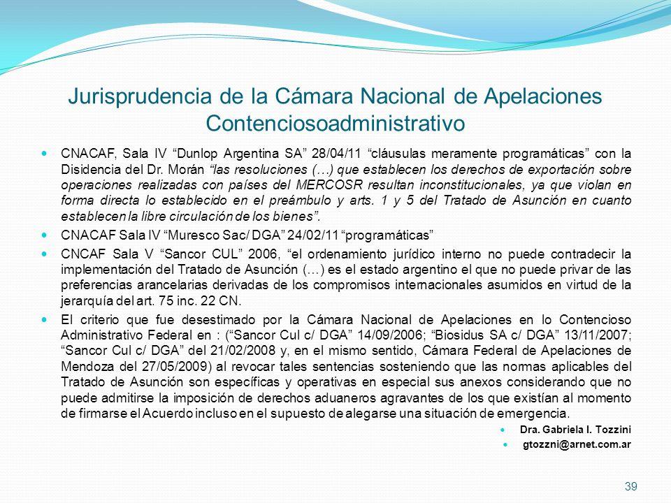 Jurisprudencia de la Cámara Nacional de Apelaciones Contenciosoadministrativo CNACAF, Sala IV Dunlop Argentina SA 28/04/11 cláusulas meramente program
