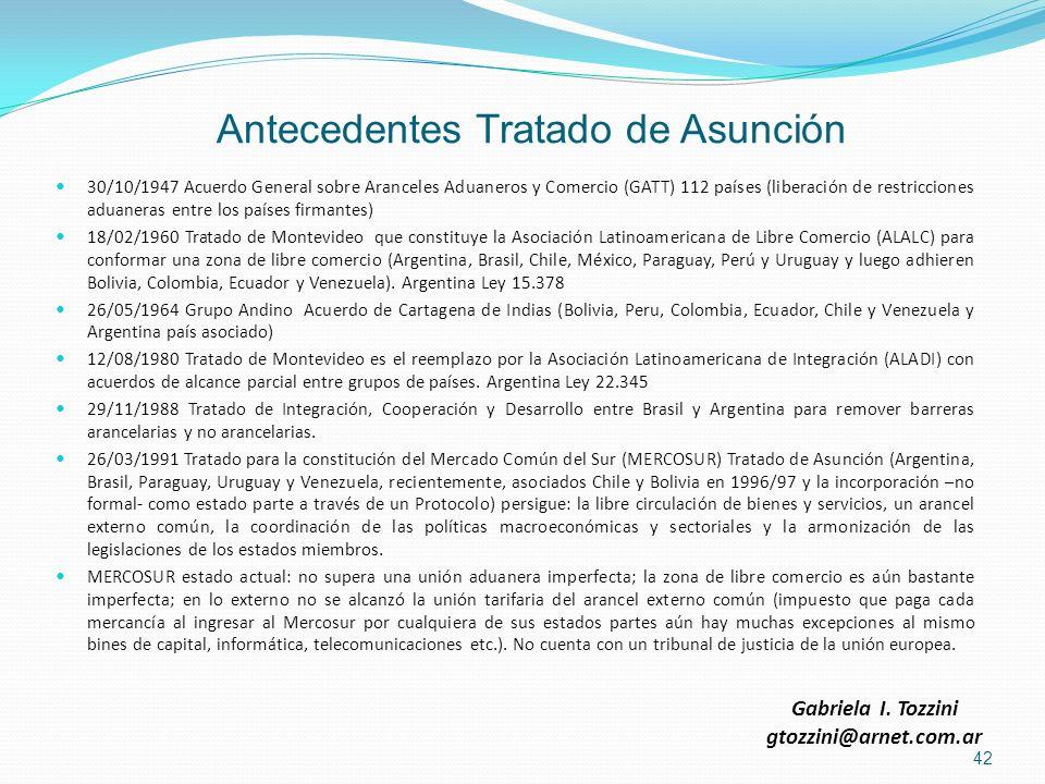 Antecedentes Tratado de Asunción 30/10/1947 Acuerdo General sobre Aranceles Aduaneros y Comercio (GATT) 112 países (liberación de restricciones aduane