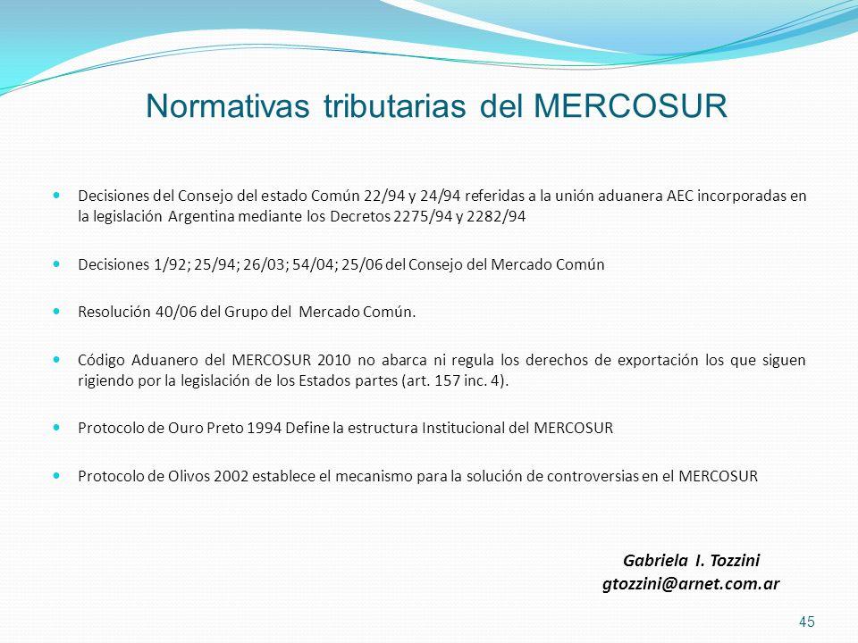 Normativas tributarias del MERCOSUR Decisiones del Consejo del estado Común 22/94 y 24/94 referidas a la unión aduanera AEC incorporadas en la legisla