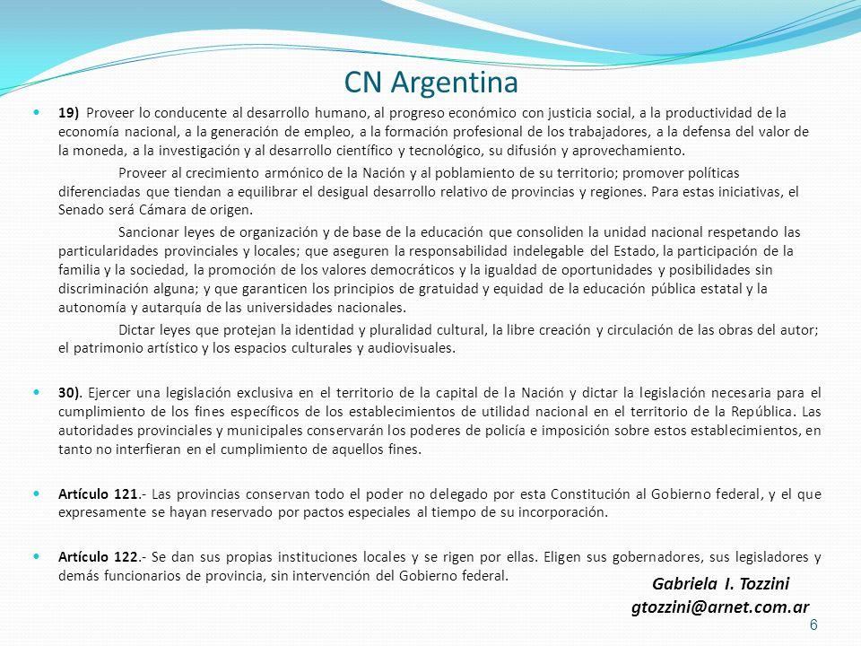CN Argentina 19) Proveer lo conducente al desarrollo humano, al progreso económico con justicia social, a la productividad de la economía nacional, a