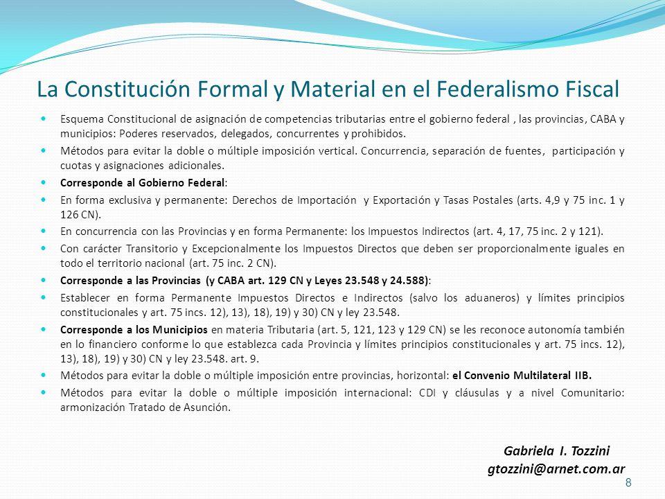La Constitución Formal y Material en el Federalismo Fiscal Esquema Constitucional de asignación de competencias tributarias entre el gobierno federal,