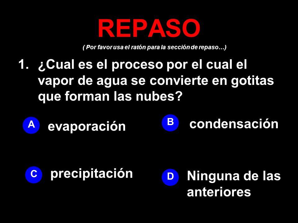 ( Por favor usa el ratón para la sección de repaso…) REPASO 1.¿Cual es el proceso por el cual el vapor de agua se convierte en gotitas que forman las