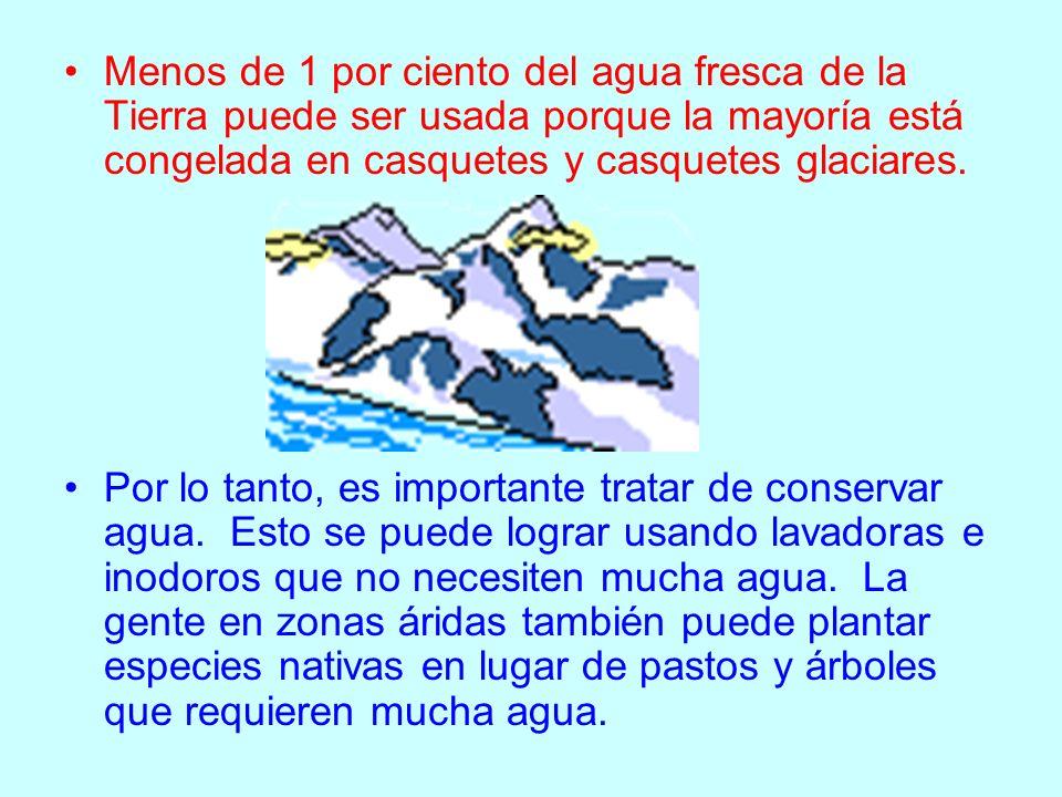 Menos de 1 por ciento del agua fresca de la Tierra puede ser usada porque la mayoría está congelada en casquetes y casquetes glaciares. Por lo tanto,