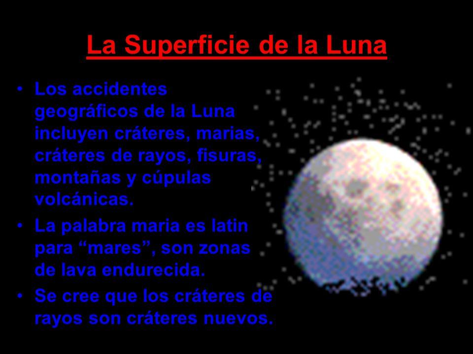 La Superficie de la Luna Los accidentes geográficos de la Luna incluyen cráteres, marias, cráteres de rayos, fisuras, montañas y cúpulas volcánicas. L