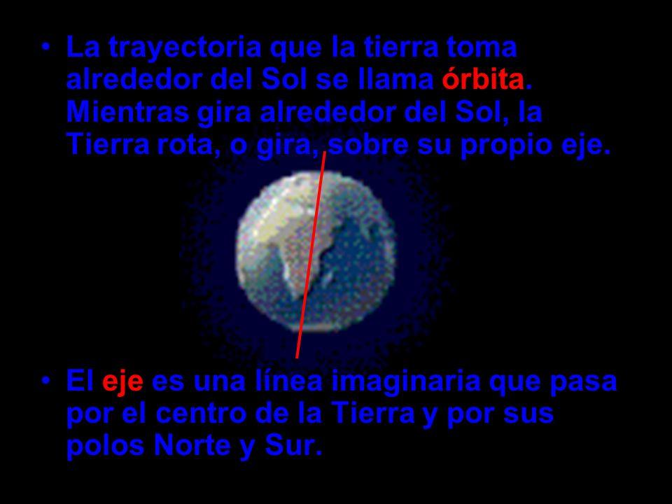 La trayectoria que la tierra toma alrededor del Sol se llama órbita. Mientras gira alrededor del Sol, la Tierra rota, o gira, sobre su propio eje. El