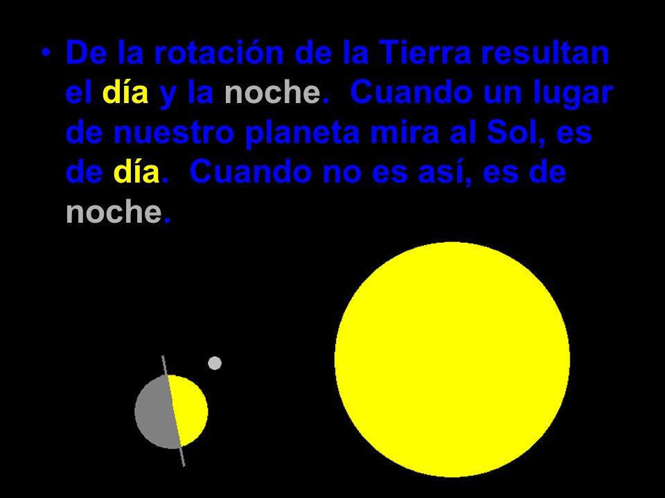 De la rotación de la Tierra resultan el día y la noche. Cuando un lugar de nuestro planeta mira al Sol, es de día. Cuando no es así, es de noche.