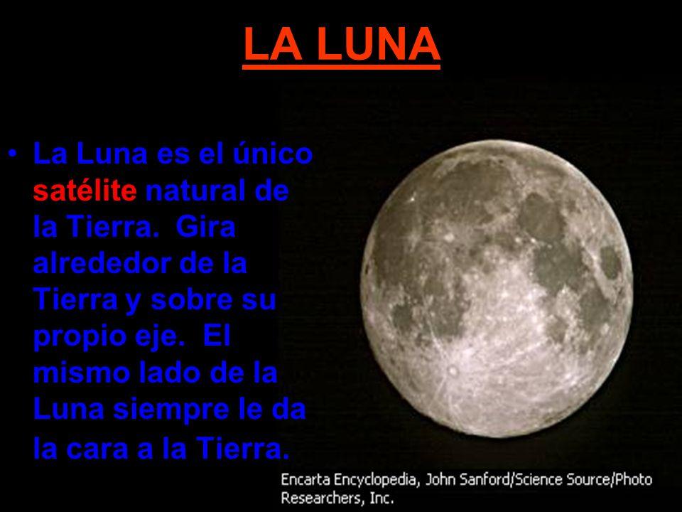 LA LUNA La Luna es el único satélite natural de la Tierra. Gira alrededor de la Tierra y sobre su propio eje. El mismo lado de la Luna siempre le da l