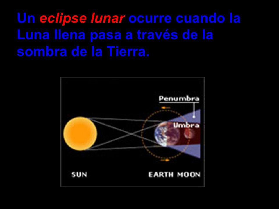 Un eclipse lunar ocurre cuando la Luna llena pasa a través de la sombra de la Tierra.