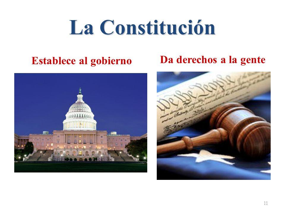 La Constitución 11 Da derechos a la gente Establece al gobierno
