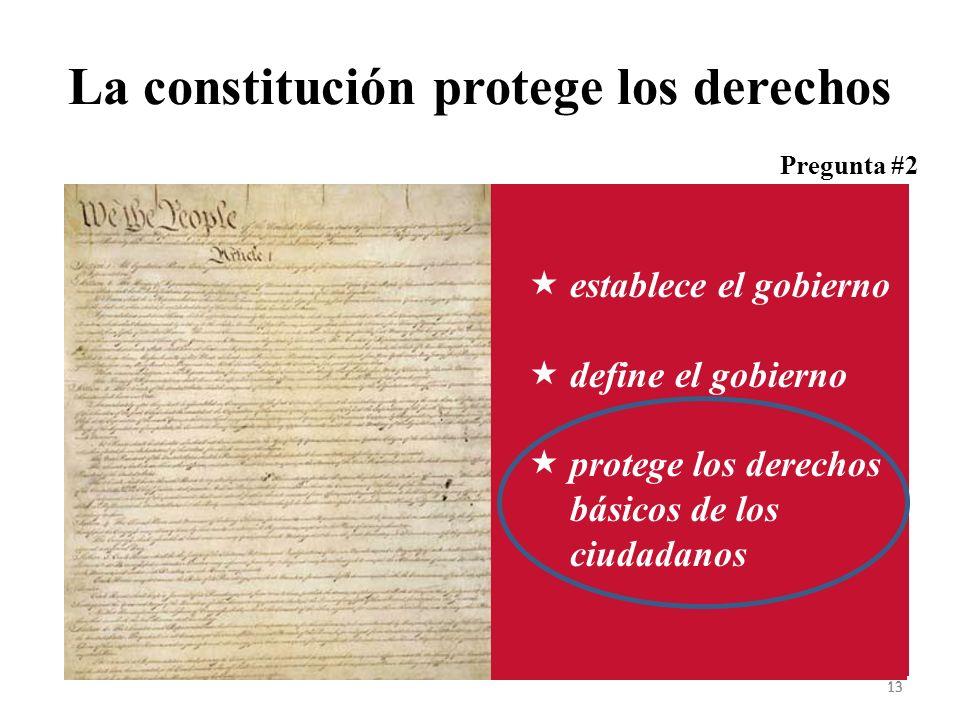 La constitución protege los derechos 13 establece el gobierno define el gobierno protege los derechos básicos de los ciudadanos Pregunta #2 13