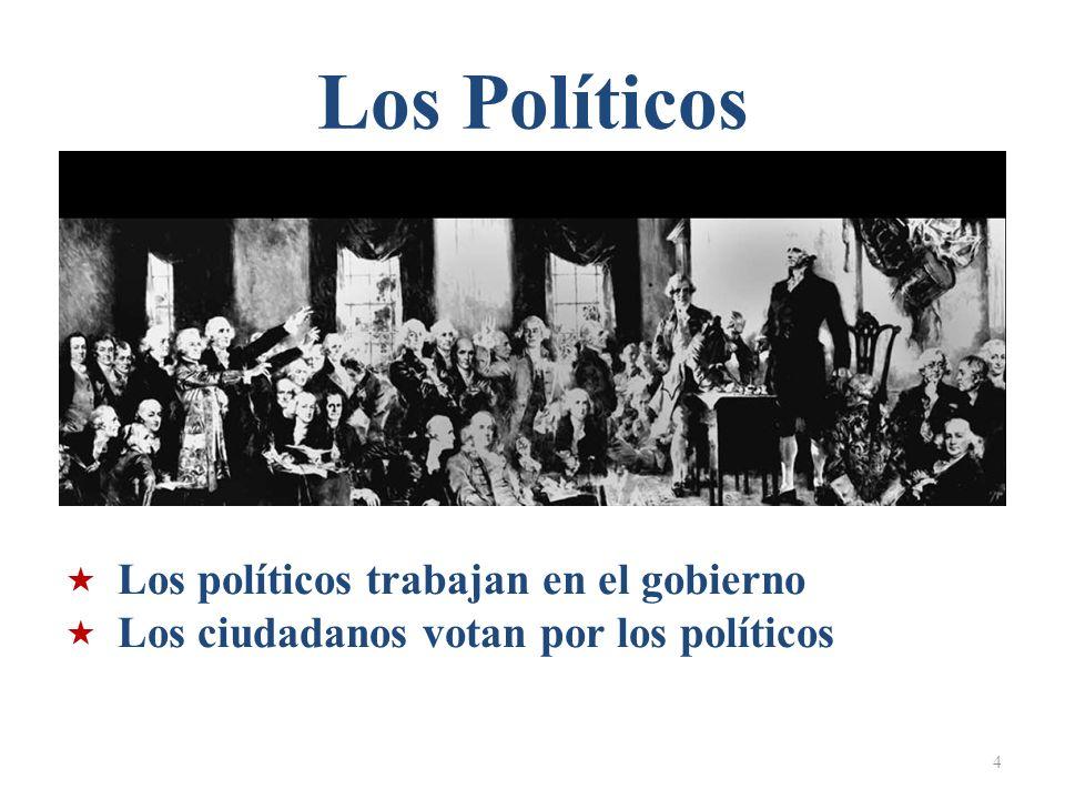 Los Políticos 4 Los políticos trabajan en el gobierno Los ciudadanos votan por los políticos