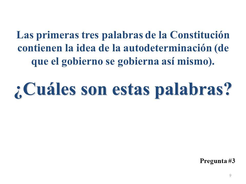 ¿Cuáles son estas palabras? Las primeras tres palabras de la Constitución contienen la idea de la autodeterminación (de que el gobierno se gobierna as