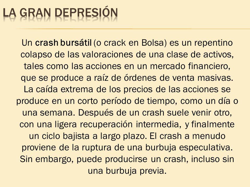 Un crash bursátil (o crack en Bolsa) es un repentino colapso de las valoraciones de una clase de activos, tales como las acciones en un mercado financ
