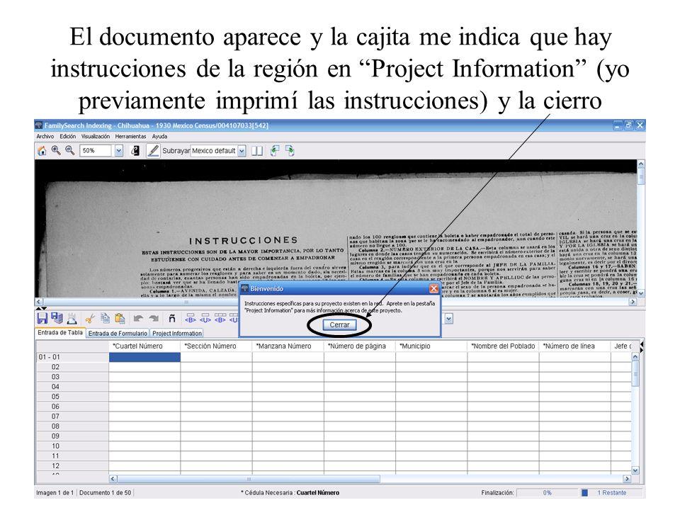 El documento aparece y la cajita me indica que hay instrucciones de la región en Project Information (yo previamente imprimí las instrucciones) y la c