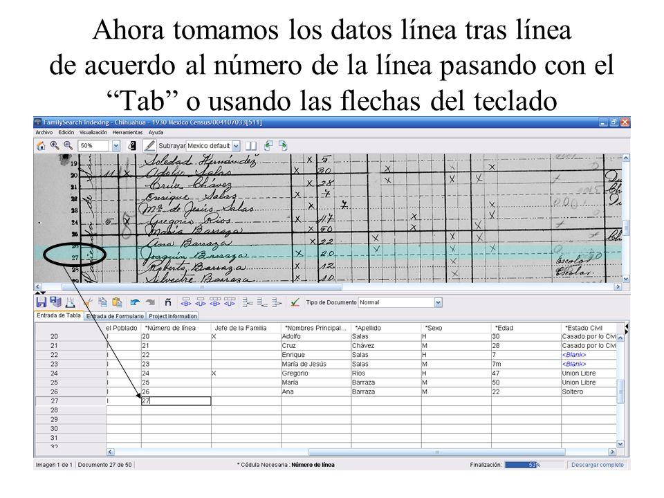 Ahora tomamos los datos línea tras línea de acuerdo al número de la línea pasando con elTab o usando las flechas del teclado