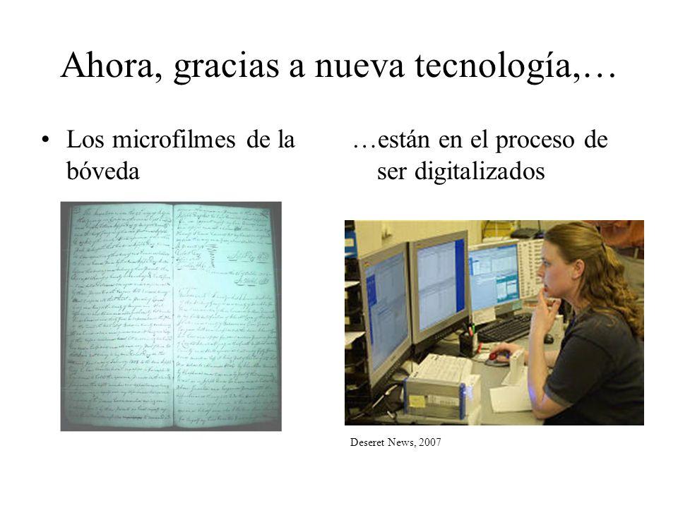Al estar en forma digital, El siguiente paso es crear un índice de las imágenes digitales de los microfilmes Como el actual Vital Records Index de México en www.familysearch.com que nos permite buscar los nombreswww.familysearch.com Solo que además podremos ver una imagen digital del mismo documento