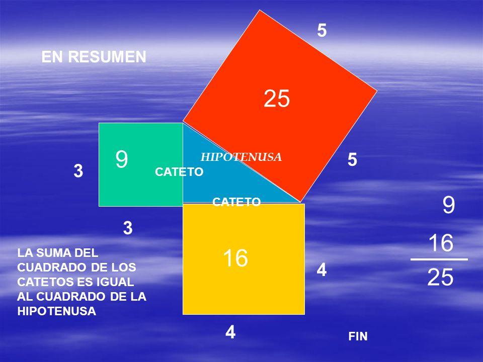 5 5 3 3 4 4 25 16 9 9 25 CATETO HIPOTENUSA LA SUMA DEL CUADRADO DE LOS CATETOS ES IGUAL AL CUADRADO DE LA HIPOTENUSA FIN EN RESUMEN