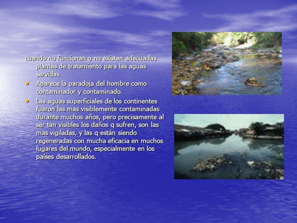 cuando no funcionan o no existen adecuadas plantas de tratamiento para las aguas servidas Aparece la paradoja del hombre como contaminador y contamina