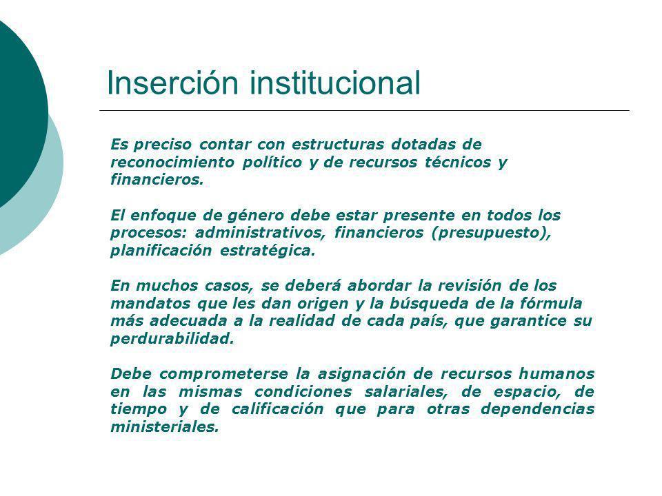 Inserción institucional Es preciso contar con estructuras dotadas de reconocimiento político y de recursos técnicos y financieros.