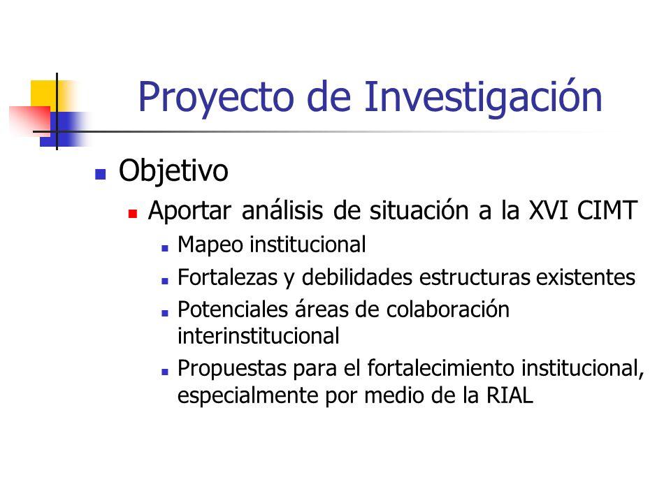 Proyecto de Investigación Objetivo Aportar análisis de situación a la XVI CIMT Mapeo institucional Fortalezas y debilidades estructuras existentes Potenciales áreas de colaboración interinstitucional Propuestas para el fortalecimiento institucional, especialmente por medio de la RIAL