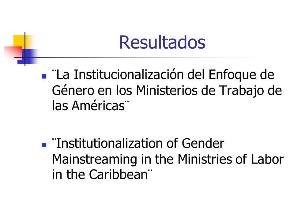 Resultados ¨La Institucionalización del Enfoque de Género en los Ministerios de Trabajo de las Américas¨ ¨Institutionalization of Gender Mainstreaming in the Ministries of Labor in the Caribbean¨