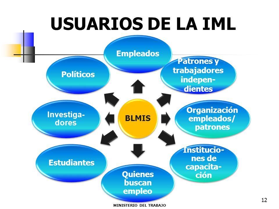 BLMIS Empleados Patrones y trabajadores indepen- dientes Organización empleados/ patrones Institucio- nes de capacita- ción Quienes buscan empleo Estu