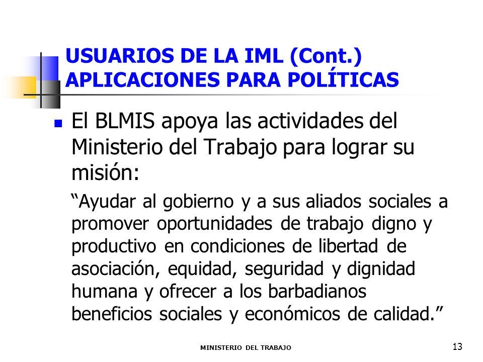 USUARIOS DE LA IML (Cont.) APLICACIONES PARA POLÍTICAS El BLMIS apoya las actividades del Ministerio del Trabajo para lograr su misión: Ayudar al gobi