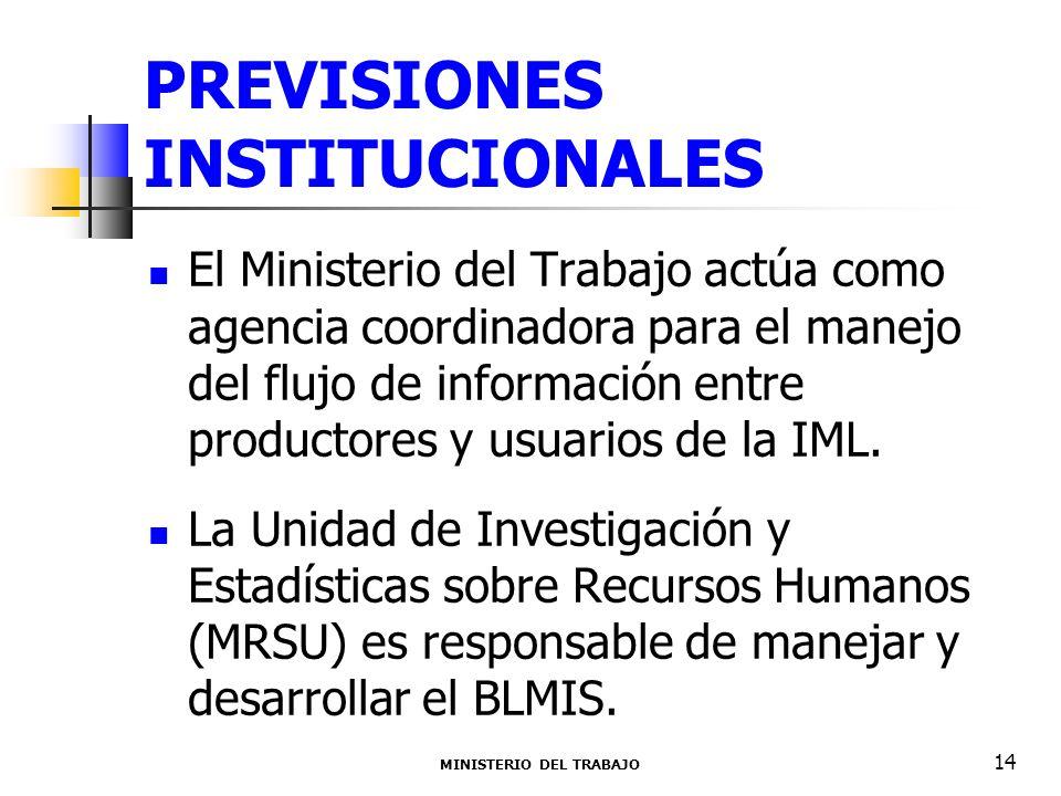 PREVISIONES INSTITUCIONALES El Ministerio del Trabajo actúa como agencia coordinadora para el manejo del flujo de información entre productores y usua