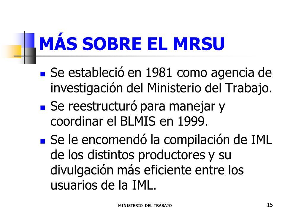 MÁS SOBRE EL MRSU Se estableció en 1981 como agencia de investigación del Ministerio del Trabajo. Se reestructuró para manejar y coordinar el BLMIS en