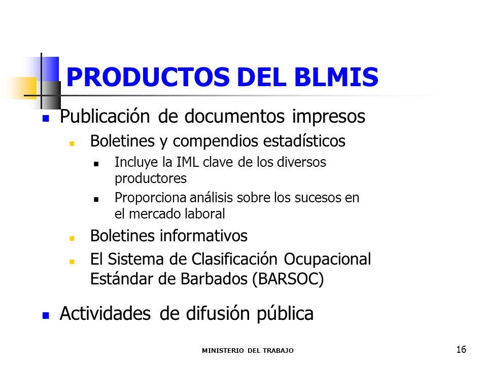 PRODUCTOS DEL BLMIS MINISTERIO DEL TRABAJO 16 Publicación de documentos impresos Boletines y compendios estadísticos Incluye la IML clave de los diver