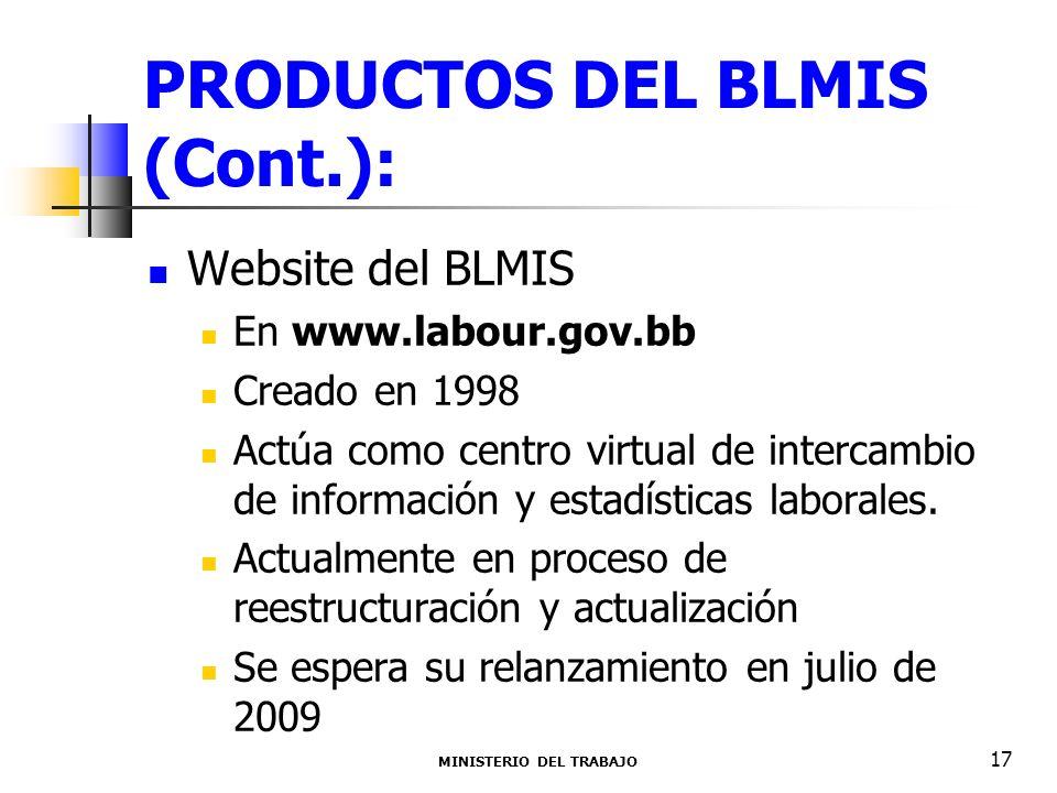 PRODUCTOS DEL BLMIS (Cont.): Website del BLMIS En www.labour.gov.bb Creado en 1998 Actúa como centro virtual de intercambio de información y estadísti
