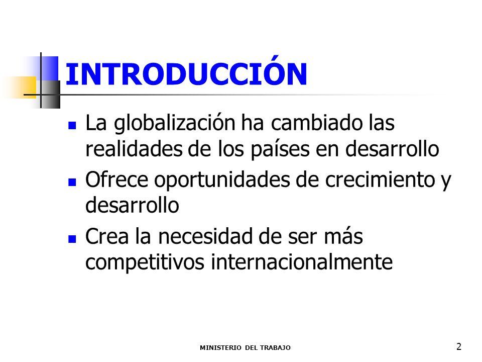 INTRODUCCIÓN La globalización ha cambiado las realidades de los países en desarrollo Ofrece oportunidades de crecimiento y desarrollo Crea la necesidad de ser más competitivos internacionalmente MINISTERIO DEL TRABAJO 2