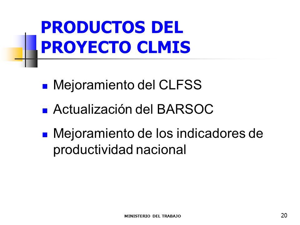 PRODUCTOS DEL PROYECTO CLMIS Mejoramiento del CLFSS Actualización del BARSOC Mejoramiento de los indicadores de productividad nacional MINISTERIO DEL