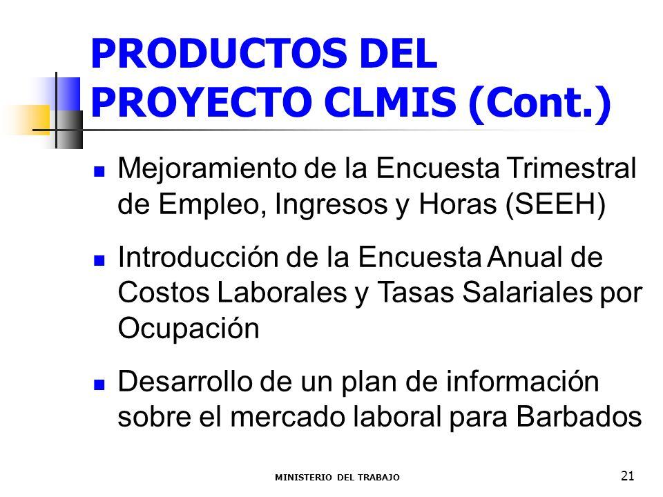 PRODUCTOS DEL PROYECTO CLMIS (Cont.) Mejoramiento de la Encuesta Trimestral de Empleo, Ingresos y Horas (SEEH) Introducción de la Encuesta Anual de Costos Laborales y Tasas Salariales por Ocupación Desarrollo de un plan de información sobre el mercado laboral para Barbados MINISTERIO DEL TRABAJO 21