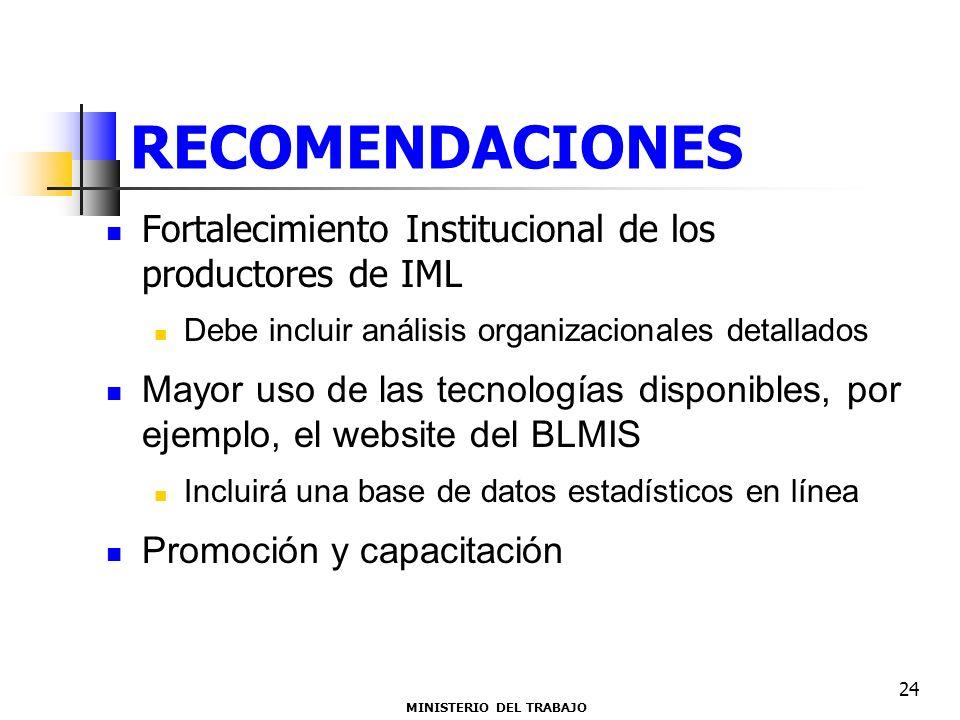 RECOMENDACIONES Fortalecimiento Institucional de los productores de IML Debe incluir análisis organizacionales detallados Mayor uso de las tecnologías disponibles, por ejemplo, el website del BLMIS Incluirá una base de datos estadísticos en línea Promoción y capacitación MINISTERIO DEL TRABAJO 24