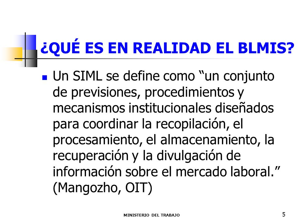 ¿QUÉ ES EN REALIDAD EL BLMIS? MINISTERIO DEL TRABAJO 5 Un SIML se define como un conjunto de previsiones, procedimientos y mecanismos institucionales