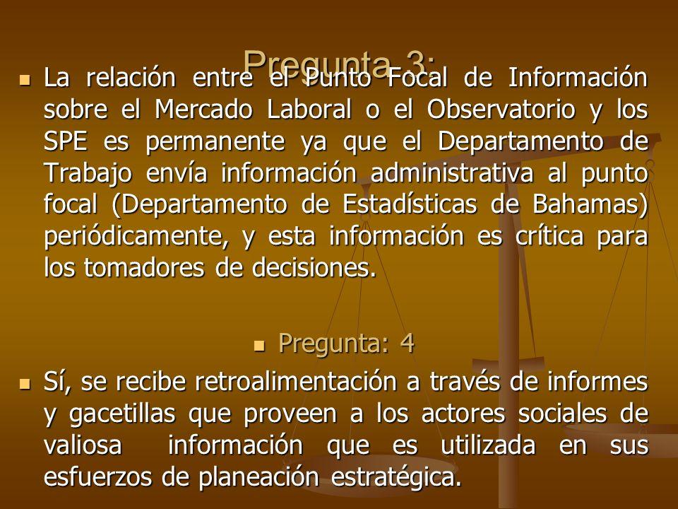 Pregunta 3: La relación entre el Punto Focal de Información sobre el Mercado Laboral o el Observatorio y los SPE es permanente ya que el Departamento