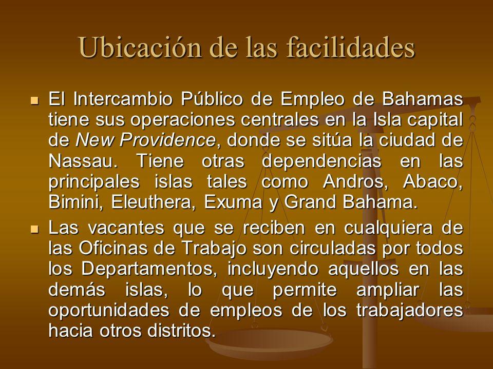 Ubicación de las facilidades El Intercambio Público de Empleo de Bahamas tiene sus operaciones centrales en la Isla capital de New Providence, donde s