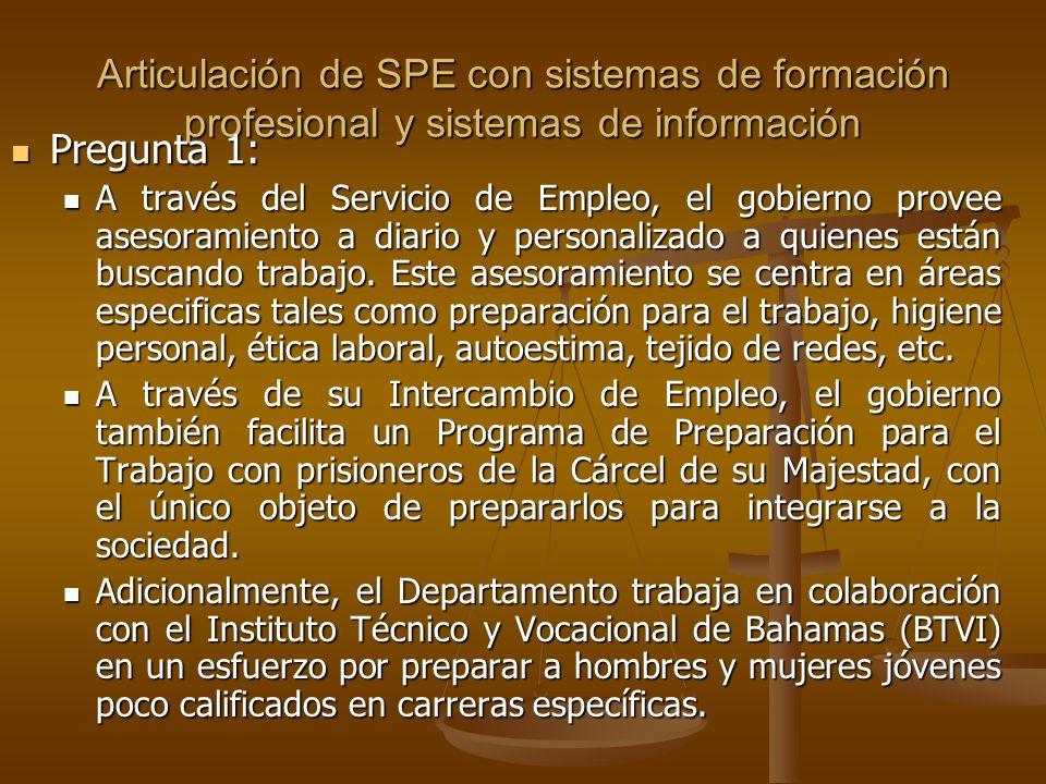 Articulación de SPE con sistemas de formación profesional y sistemas de información Pregunta 1: Pregunta 1: A través del Servicio de Empleo, el gobierno provee asesoramiento a diario y personalizado a quienes están buscando trabajo.