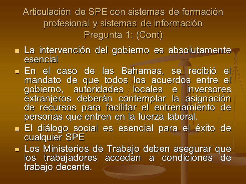 Articulación de SPE con sistemas de formación profesional y sistemas de información Pregunta 1: (Cont) La intervención del gobierno es absolutamente e