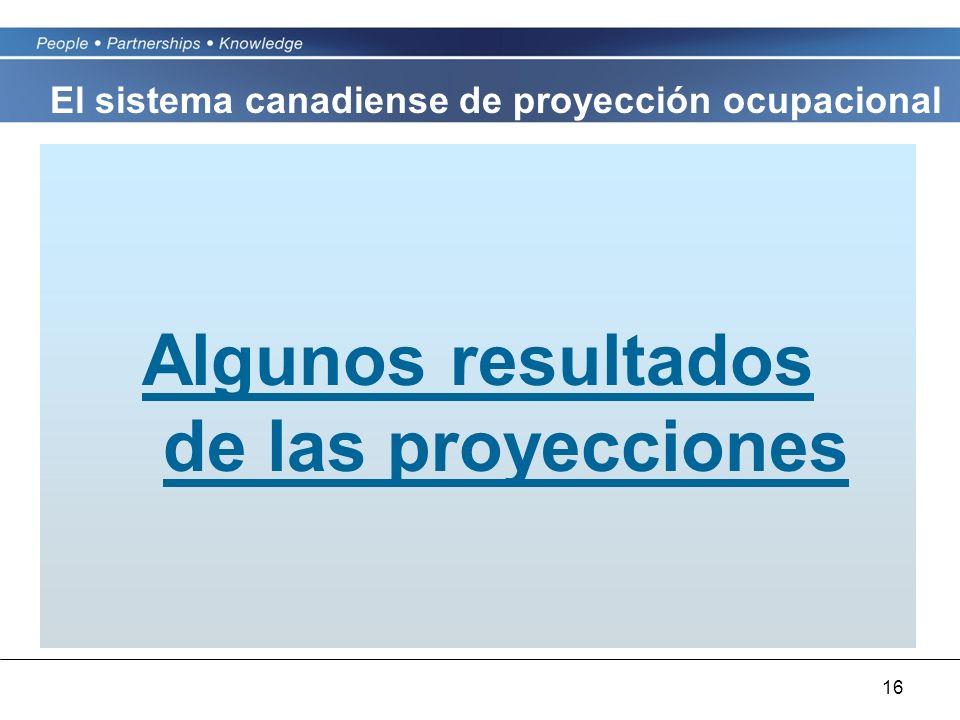 16 Algunos resultados de las proyecciones El sistema canadiense de proyección ocupacional