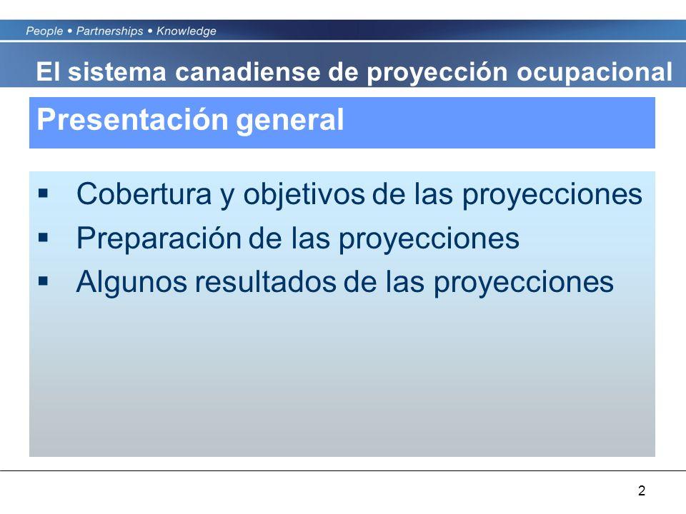 2 Presentación general Cobertura y objetivos de las proyecciones Preparación de las proyecciones Algunos resultados de las proyecciones El sistema canadiense de proyección ocupacional