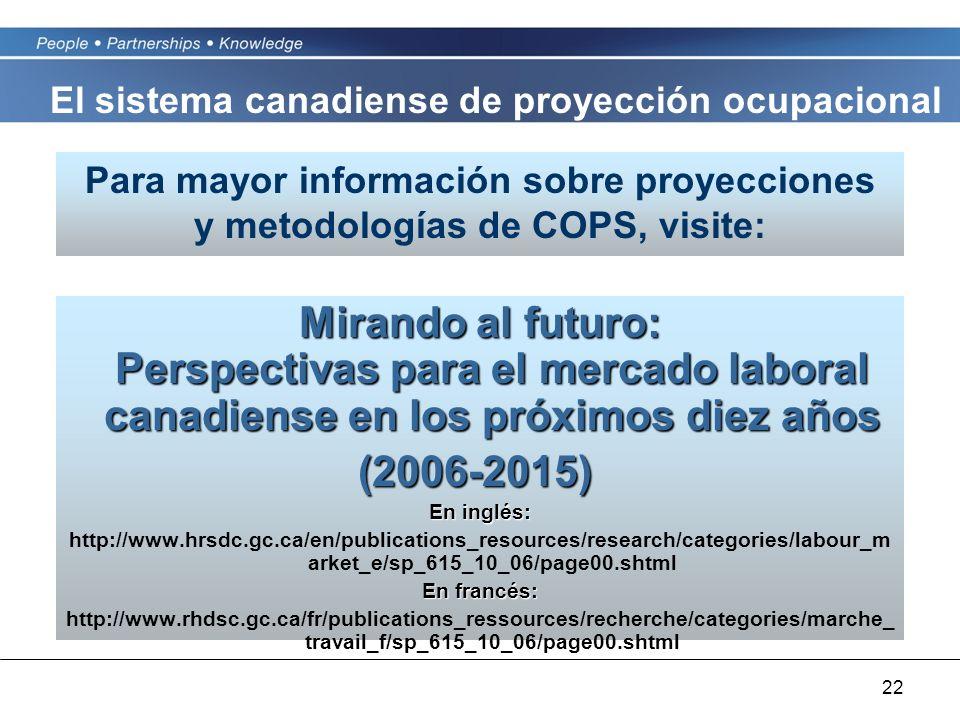 22 Mirando al futuro: Perspectivas para el mercado laboral canadiense en los próximos diez años (2006-2015) En inglés: http://www.hrsdc.gc.ca/en/publications_resources/research/categories/labour_m arket_e/sp_615_10_06/page00.shtml En francés: http://www.rhdsc.gc.ca/fr/publications_ressources/recherche/categories/marche_ travail_f/sp_615_10_06/page00.shtml Para mayor información sobre proyecciones y metodologías de COPS, visite: El sistema canadiense de proyección ocupacional