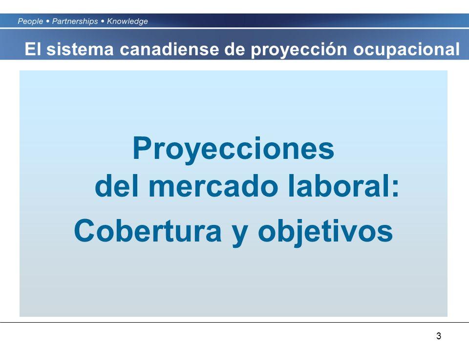 3 Proyecciones del mercado laboral: Cobertura y objetivos El sistema canadiense de proyección ocupacional