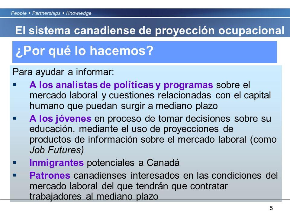 5 ¿Por qué lo hacemos? Para ayudar a informar: A los analistas de políticas y programas sobre el mercado laboral y cuestiones relacionadas con el capi