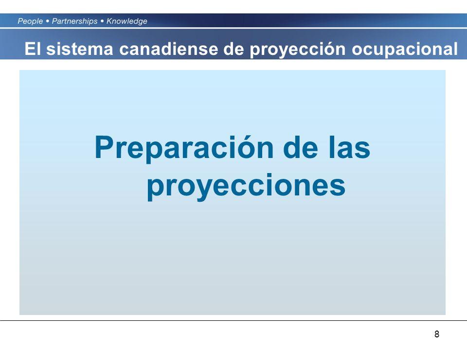 8 Preparación de las proyecciones El sistema canadiense de proyección ocupacional
